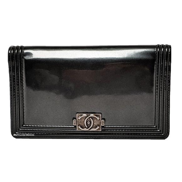 CHANEL Handbags - Chanel Grey Boy Bi-fold Patent Leather Wallet